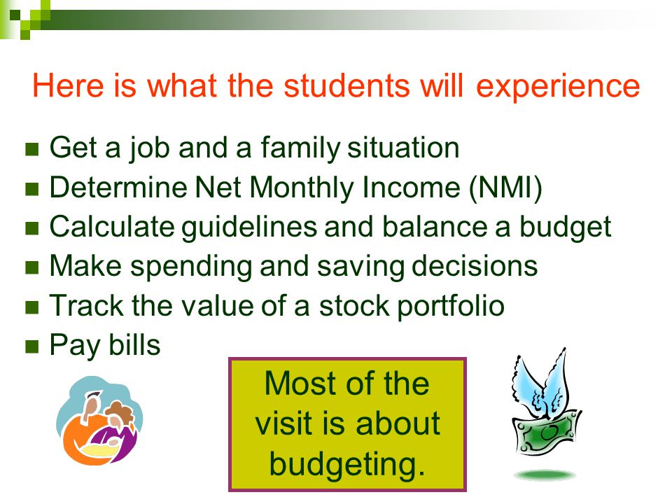 Total Payments (Expenses) = NMI The goal of the project is to balance Students can put as much into Saving as theyd like If overdrawn, they have to choose to spend less somewhere.