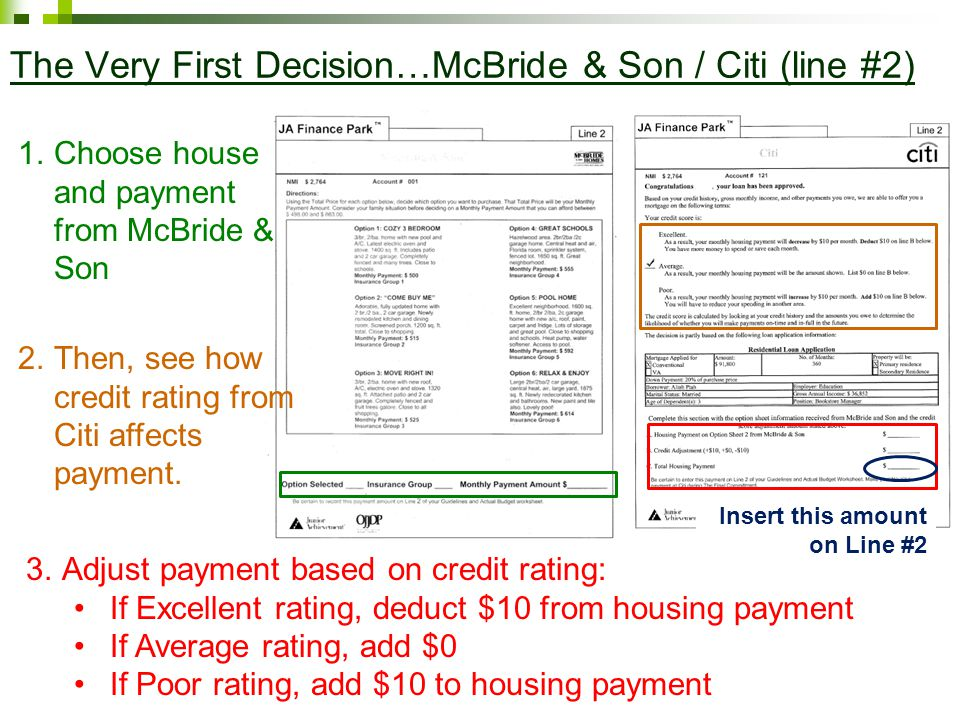 The Very First Decision…McBride & Son / Citi (line #2) 1.Choose house and payment from McBride & Son 3.Adjust payment based on credit rating: If Excellent rating, deduct $10 from housing payment If Average rating, add $0 If Poor rating, add $10 to housing payment 2.Then, see how credit rating from Citi affects payment.