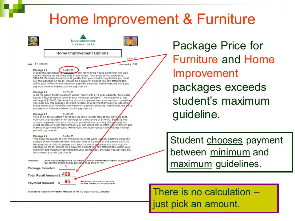 Package Price for Furniture and Home Improvement packages exceeds students maximum guideline.