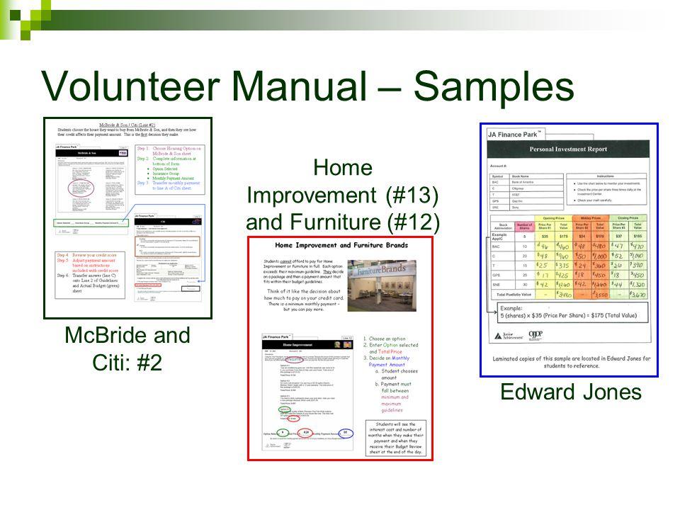 Volunteer Manual – Samples McBride and Citi: #2 Home Improvement (#13) and Furniture (#12) Edward Jones