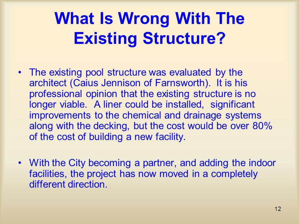 12 What Is Wrong With The Existing Structure.