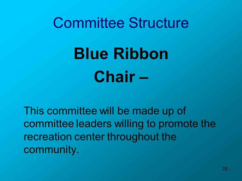 39 Committee Structure Blue Ribbon Chair – This committee will be made up of committee leaders willing to promote the recreation center throughout the community.