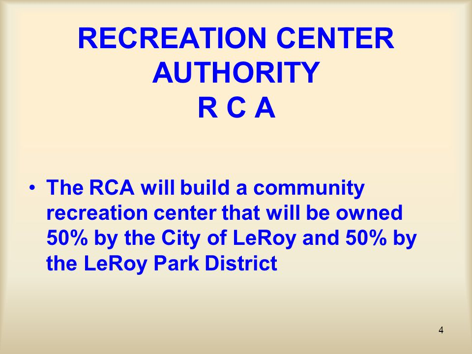 75 REC CENTER DETAIL OPERATION REVENUE OPTIONS (Cont) –* Renting the Gym space The gym will be designed so it can be used conventionally as a gym with options to rent for special community events that require a larger space.