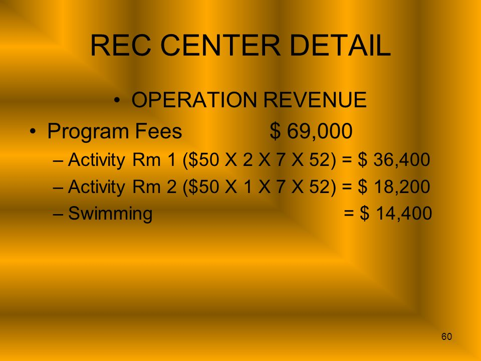 60 REC CENTER DETAIL OPERATION REVENUE Program Fees$ 69,000 –Activity Rm 1 ($50 X 2 X 7 X 52) = $ 36,400 –Activity Rm 2 ($50 X 1 X 7 X 52) = $ 18,200 –Swimming = $ 14,400
