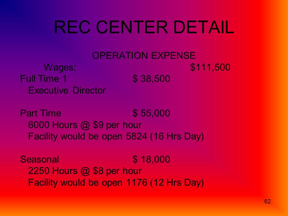 62 REC CENTER DETAIL OPERATION EXPENSE Wages: $111,500 Full Time 1$ 38,500 Executive Director Part Time$ 55,000 6000 Hours @ $9 per hour Facility would be open 5824 (16 Hrs Day) Seasonal $ 18,000 2250 Hours @ $8 per hour Facility would be open 1176 (12 Hrs Day)
