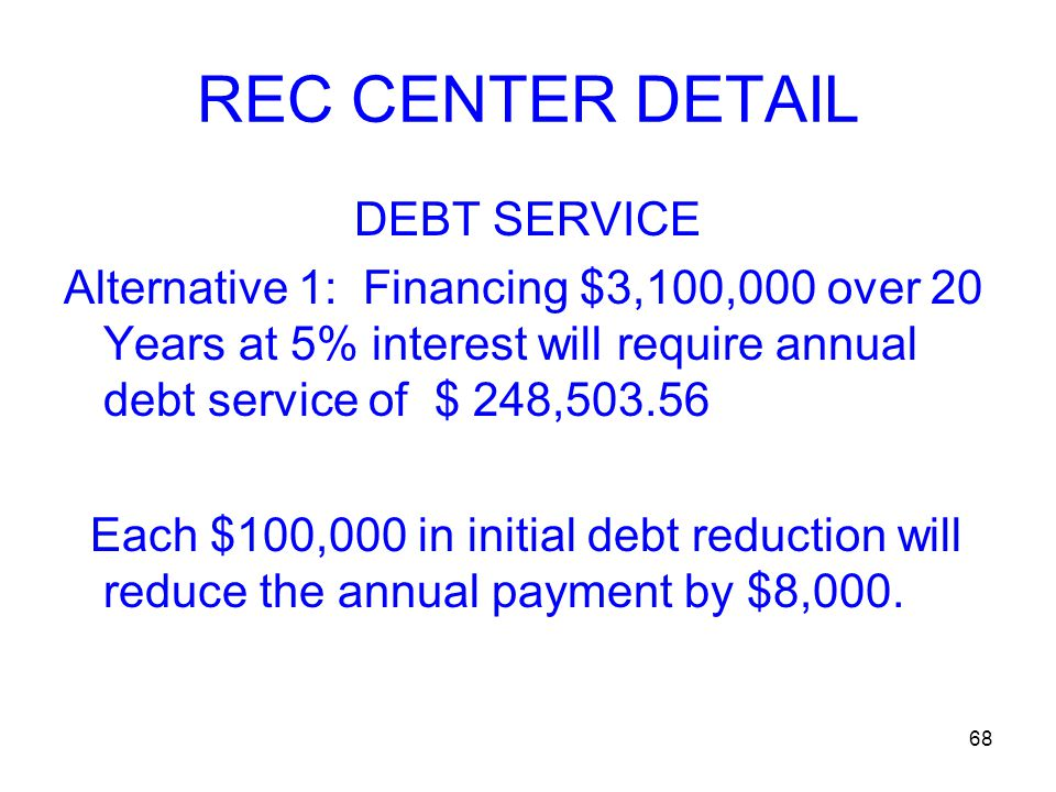 68 REC CENTER DETAIL DEBT SERVICE Alternative 1: Financing $3,100,000 over 20 Years at 5% interest will require annual debt service of $ 248,503.56 Each $100,000 in initial debt reduction will reduce the annual payment by $8,000.