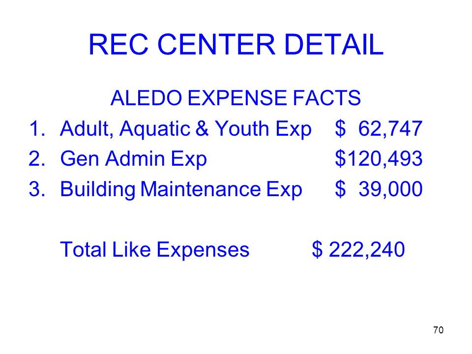 70 REC CENTER DETAIL ALEDO EXPENSE FACTS 1.Adult, Aquatic & Youth Exp $ 62,747 2.Gen Admin Exp $120,493 3.Building Maintenance Exp $ 39,000 Total Like Expenses$ 222,240