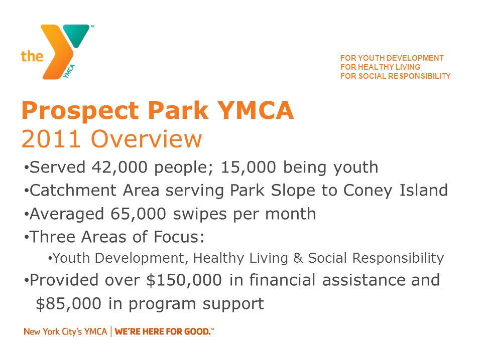 FOR YOUTH DEVELOPMENT FOR HEALTHY LIVING FOR SOCIAL RESPONSIBILITY Prospect Park YMCA Program Offerings Per Week 71 Youth Classes (sports, arts & culture) 50 Family Classes (Grown up & Me/Family Fitness) Afterschool Childcare Programs ages 5 – 12 years old Summer Day Camp ages 4.5 – 12 years old
