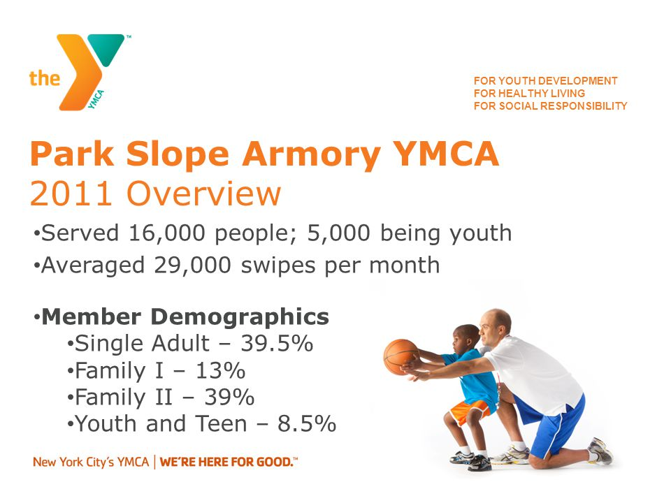 FOR YOUTH DEVELOPMENT FOR HEALTHY LIVING FOR SOCIAL RESPONSIBILITY Park Slope Armory YMCA Program Offerings Per Week 47 Youth Classes (sports, arts & culture) 33 Family Classes (Grown up & Me/Family Fitness) Summer Day Camp ages 4.5 – 12 years old Teen Programs – leadership and Civics