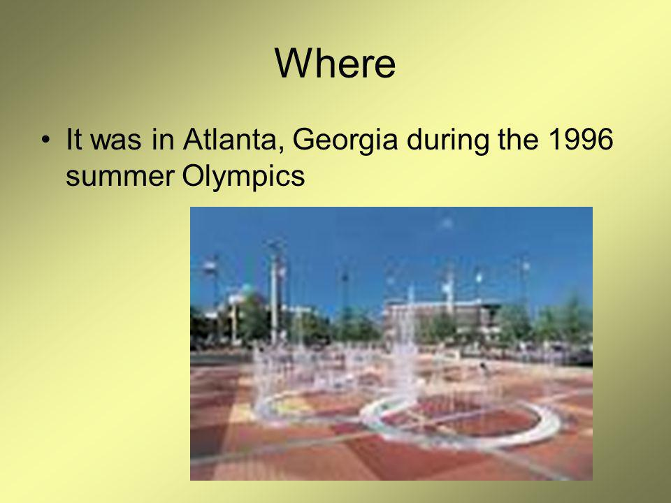 Where It was in Atlanta, Georgia during the 1996 summer Olympics