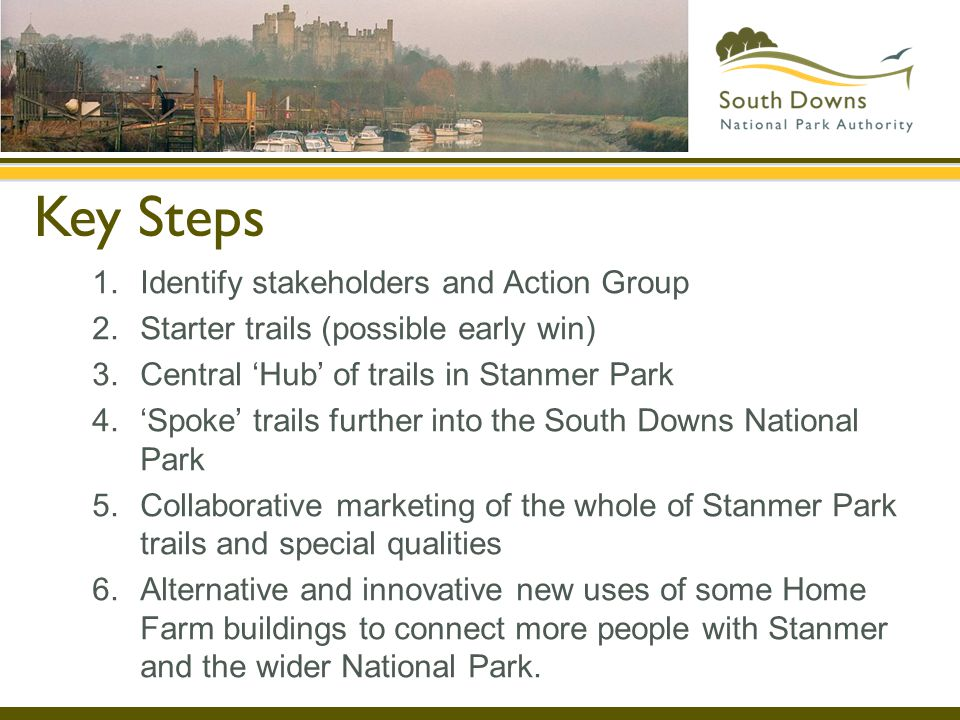 Key Steps 1.Identify stakeholders and Action Group 2.Starter trails (possible early win) 3.Central Hub of trails in Stanmer Park 4.Spoke trails further into the South Downs National Park 5.Collaborative marketing of the whole of Stanmer Park trails and special qualities 6.Alternative and innovative new uses of some Home Farm buildings to connect more people with Stanmer and the wider National Park.