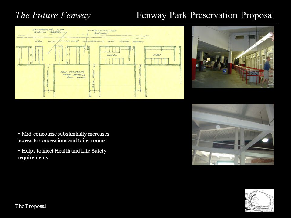 The Future Fenway Fenway Park Preservation Proposal The Proposal Mid-concourse substantially increases access to concessions and toilet rooms Helps to meet Health and Life Safety requirements