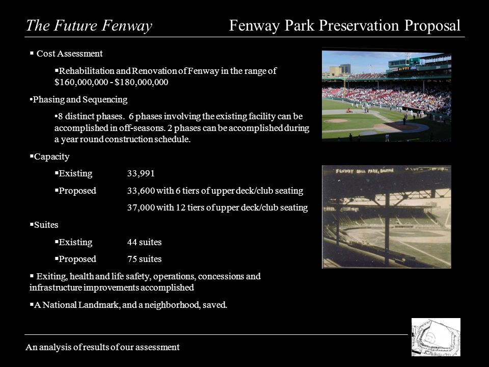 The Future Fenway Fenway Park Preservation Proposal An analysis of results of our assessment Cost Assessment Rehabilitation and Renovation of Fenway in the range of $160,000,000 - $180,000,000 Phasing and Sequencing 8 distinct phases.