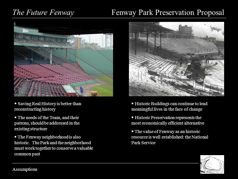 The Future Fenway Fenway Park Preservation Proposal Assumptions Saving Real History is better than reconstructing history The needs of the Team, and their patrons, should be addressed in the existing structure The Fenway neighborhood is also historic.
