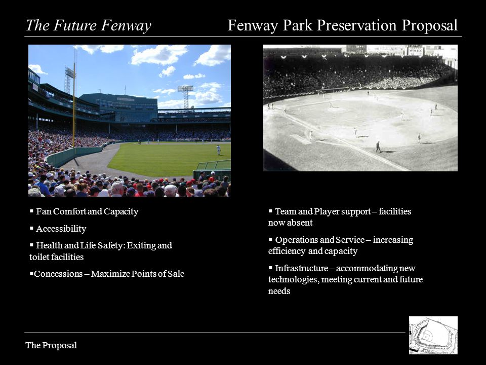 The Future Fenway Fenway Park Preservation Proposal The Proposal Fan Comfort and Capacity Accessibility Health and Life Safety: Exiting and toilet facilities Concessions – Maximize Points of Sale Team and Player support – facilities now absent Operations and Service – increasing efficiency and capacity Infrastructure – accommodating new technologies, meeting current and future needs