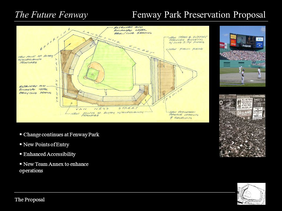 The Future Fenway Fenway Park Preservation Proposal The Proposal Change continues at Fenway Park New Points of Entry Enhanced Accessibility New Team A