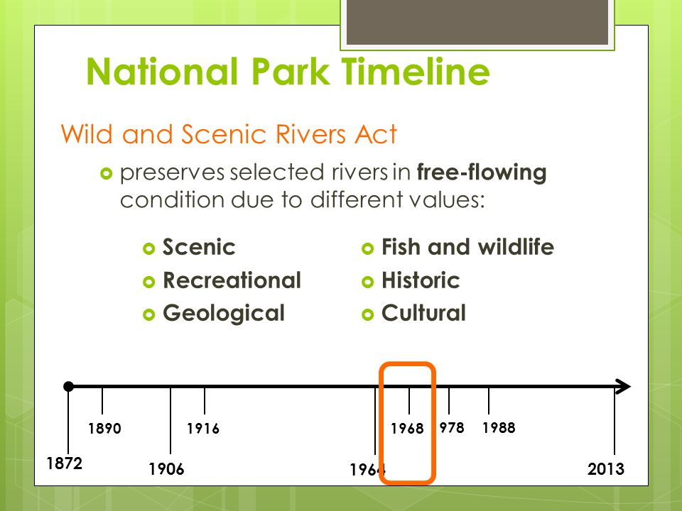 1872 1890 1906 1916 1964 1968 19781988 2013 National Park Timeline Wilderness Act established national Wilderness Preservation System land within these areas is protected exceptional value to wilderness human activity is restricted within these areas all lands within this system federally controlled by: National Park Service, US Fish and Wildlife Service, Bureau of Land Management or US Department of Forestry
