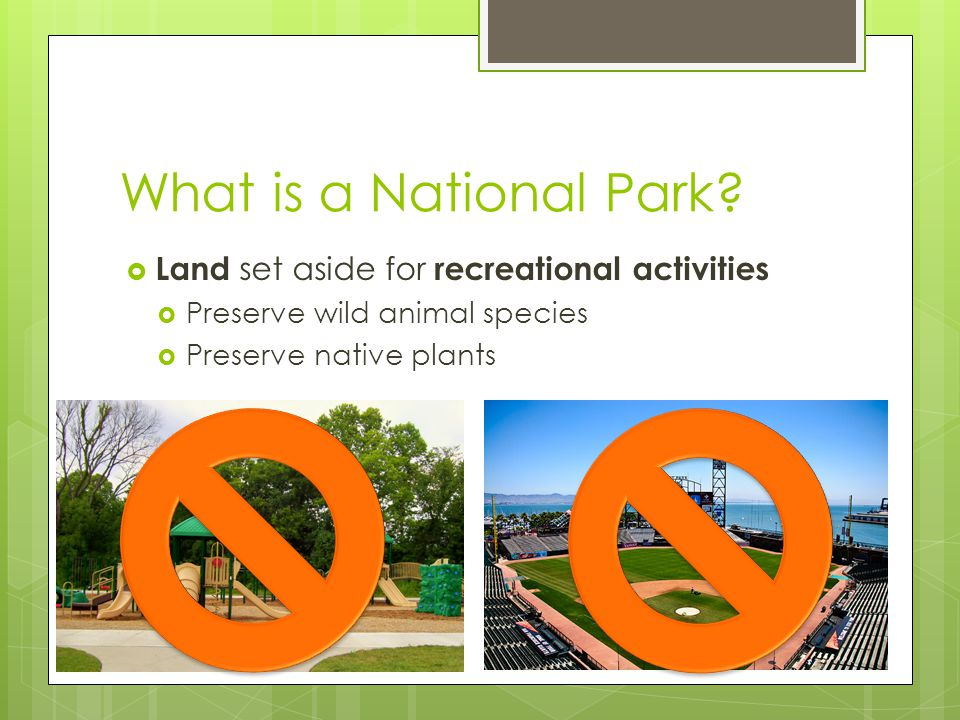 At the end students should be able to… Identify important dates in the history of the National Park Service Identify the different park units within the National Park Service List facilities and activities available at National Parks