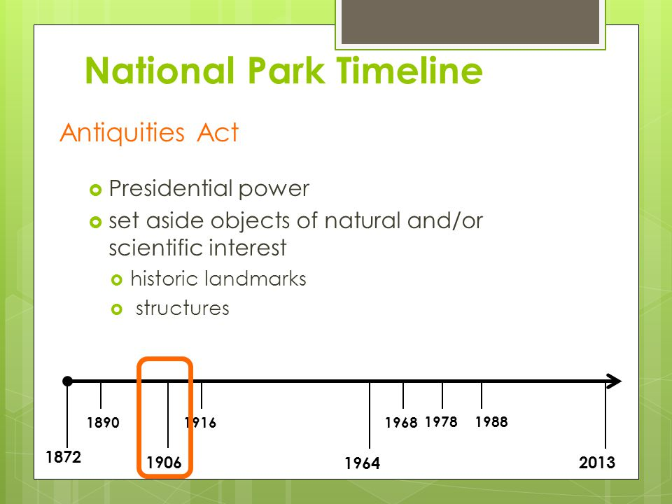 1872 1890 1906 1916 1964 1968 19781988 2013 National Park Timeline Yosemite N.P.