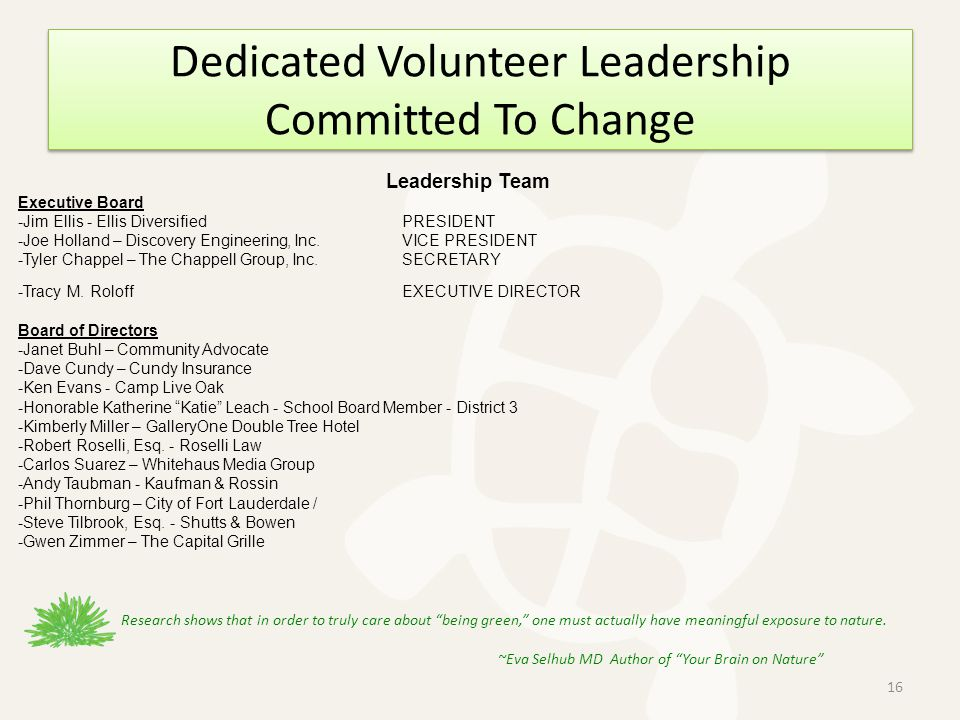 Dedicated Volunteer Leadership Committed To Change Leadership Team Executive Board -Jim Ellis - Ellis DiversifiedPRESIDENT -Joe Holland – Discovery Engineering, Inc.VICE PRESIDENT -Tyler Chappel – The Chappell Group, Inc.SECRETARY -Tracy M.