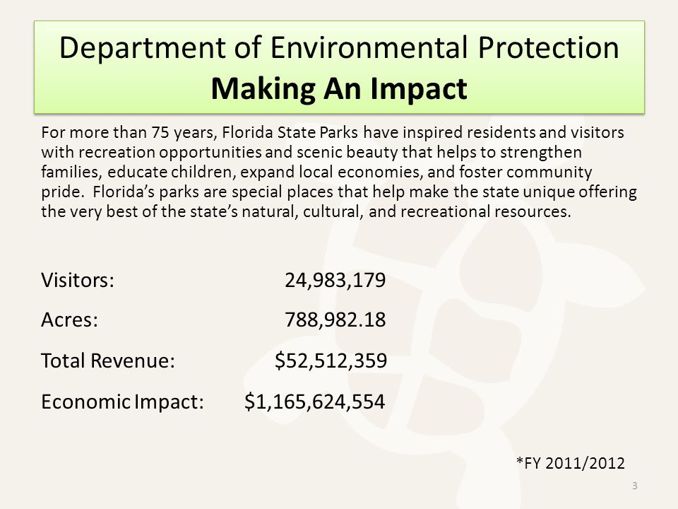 Department of Environmental Protection Making An Impact For more than 75 years, Florida State Parks have inspired residents and visitors with recreation opportunities and scenic beauty that helps to strengthen families, educate children, expand local economies, and foster community pride.