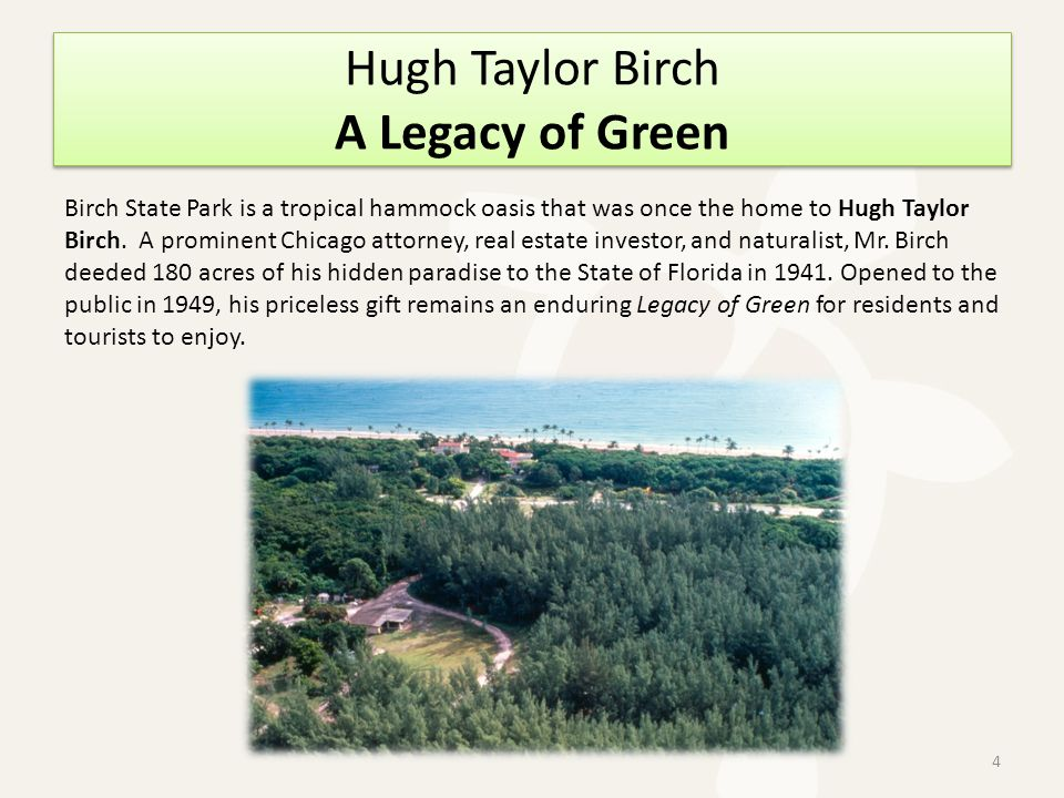 Hugh Taylor Birch A Legacy of Green Birch State Park is a tropical hammock oasis that was once the home to Hugh Taylor Birch.