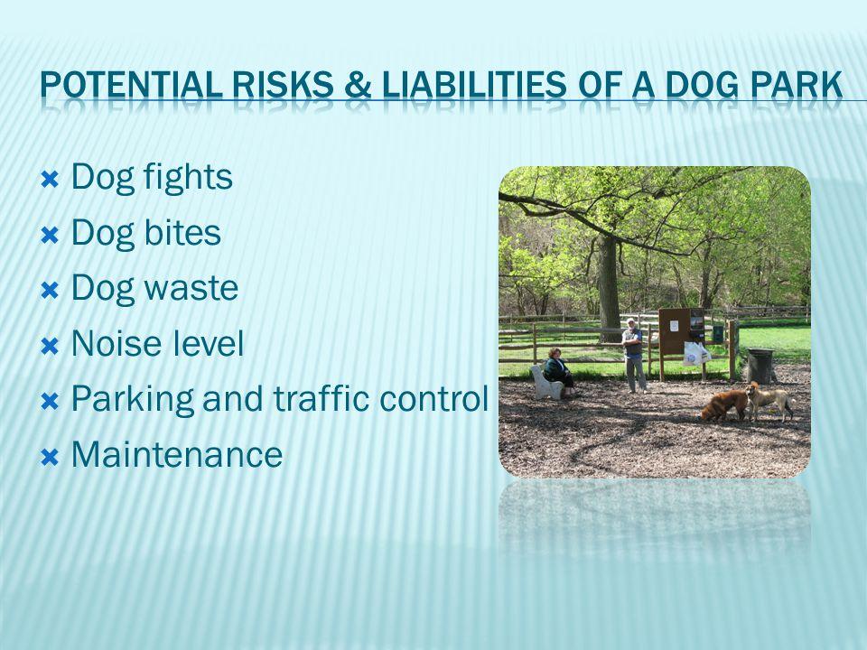 Dog fights Dog bites Dog waste Noise level Parking and traffic control Maintenance