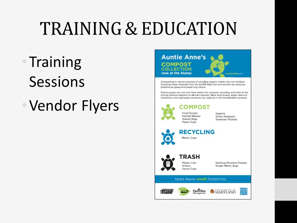 TRAINING & EDUCATION Training Sessions Vendor Flyers