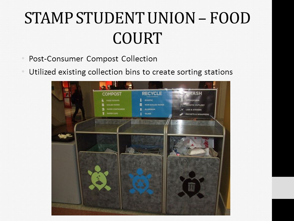STAMP STUDENT UNION – FOOD COURT Post-Consumer Compost Collection Utilized existing collection bins to create sorting stations