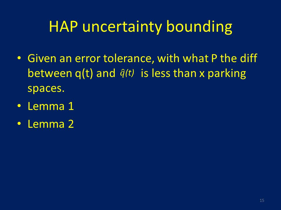 HAP uncertainty bounding Given an error tolerance, with what P the diff between q(t) and is less than x parking spaces.