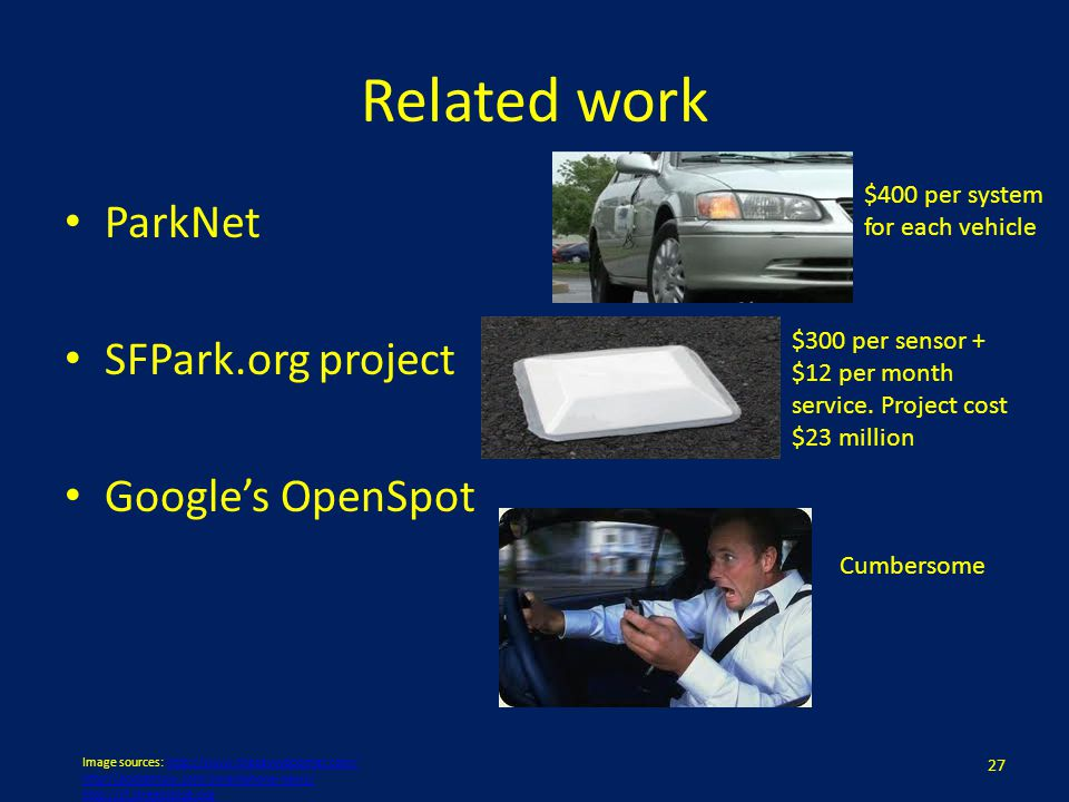 Related work ParkNet SFPark.org project Googles OpenSpot 27 Image sources: http://www.thesavvyboomer.com/http://www.thesavvyboomer.com/ http://pocketn