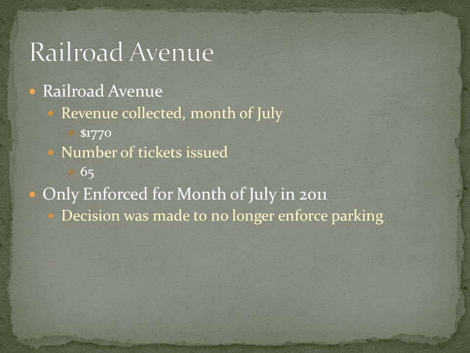 Railroad Avenue Revenue collected, month of July $1770 Number of tickets issued 65 Only Enforced for Month of July in 2011 Decision was made to no longer enforce parking