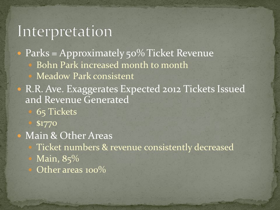 Parks = Approximately 50% Ticket Revenue Bohn Park increased month to month Meadow Park consistent R.R.