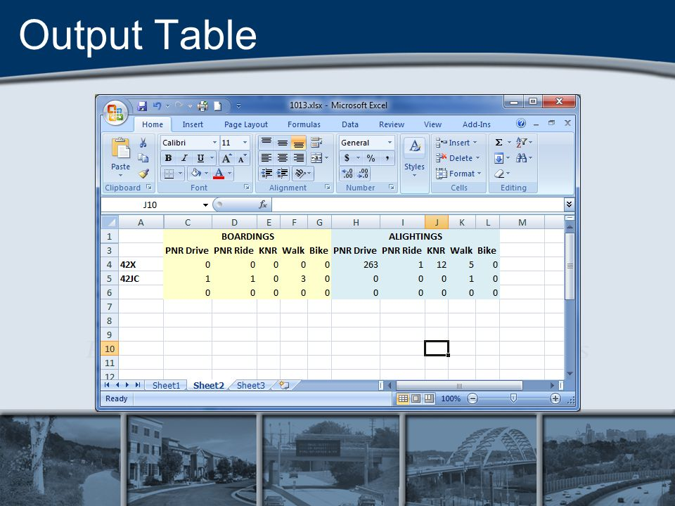 Output Table