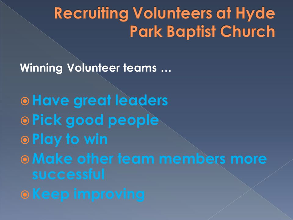 Winning Volunteer teams … Have great leaders Pick good people Play to win Make other team members more successful Keep improving