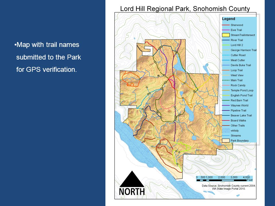 Map with trail names submitted to the Park for GPS verification.