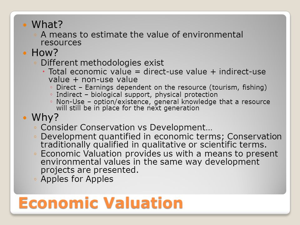 Economic Valuation What? A means to estimate the value of environmental resources How? Different methodologies exist Total economic value = direct-use