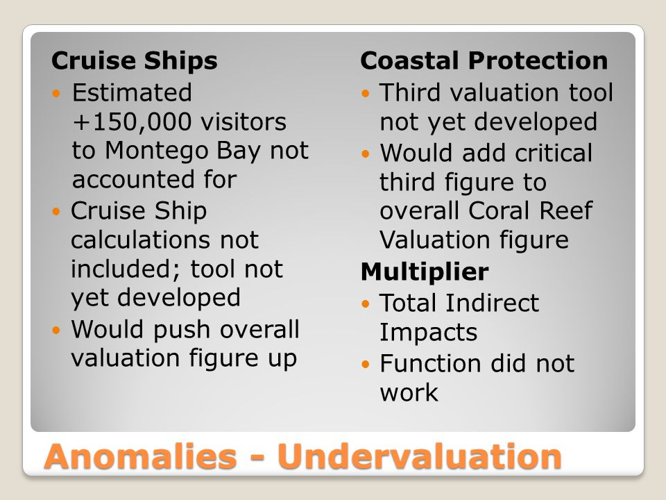 Anomalies - Undervaluation Cruise Ships Estimated +150,000 visitors to Montego Bay not accounted for Cruise Ship calculations not included; tool not y