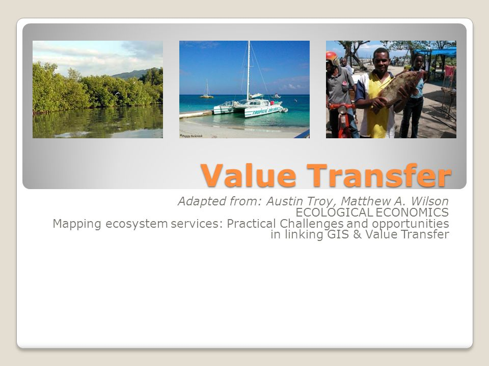 Value Transfer Adapted from: Austin Troy, Matthew A. Wilson ECOLOGICAL ECONOMICS Mapping ecosystem services: Practical Challenges and opportunities in