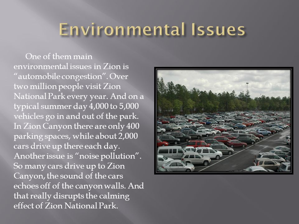 One of them main environmental issues in Zion is automobile congestion.