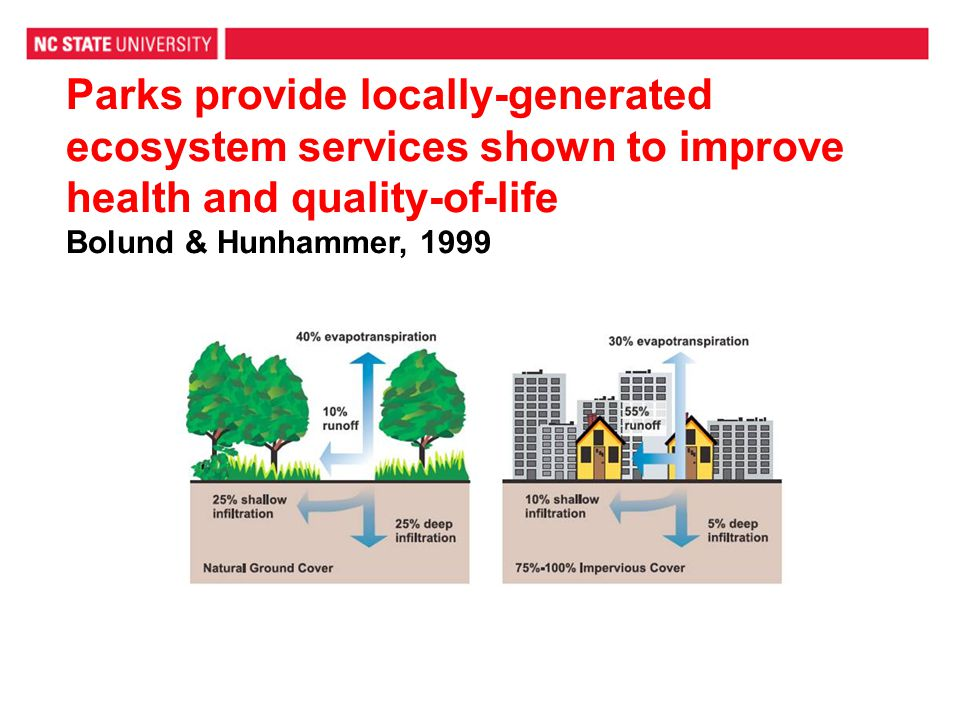 Parks provide locally-generated ecosystem services shown to improve health and quality-of-life Bolund & Hunhammer, 1999