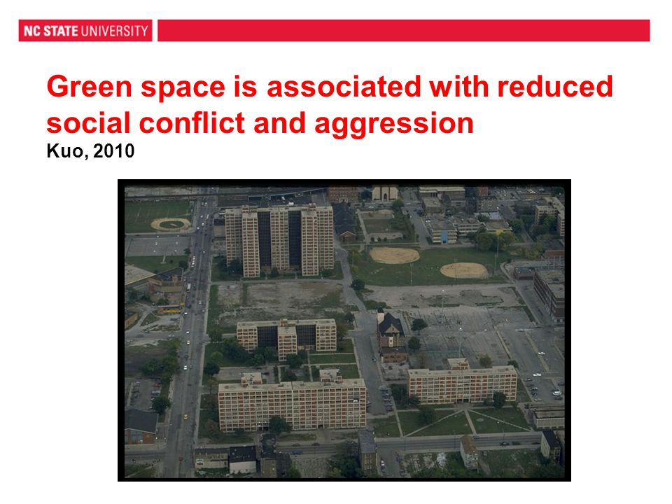Green space is associated with reduced social conflict and aggression Kuo, 2010