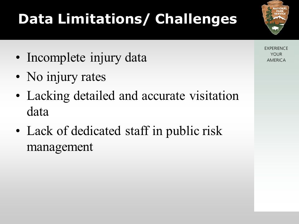 Data Limitations/ Challenges Incomplete injury data No injury rates Lacking detailed and accurate visitation data Lack of dedicated staff in public risk management