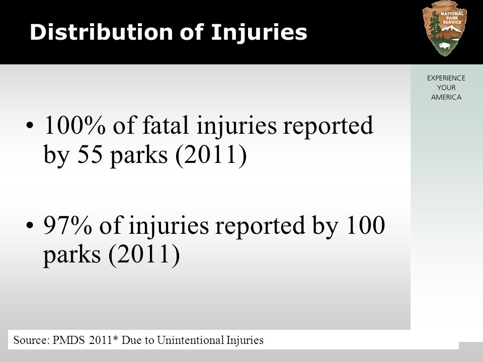 Distribution of Injuries 100% of fatal injuries reported by 55 parks (2011) 97% of injuries reported by 100 parks (2011) Source: PMDS 2011* Due to Unintentional Injuries
