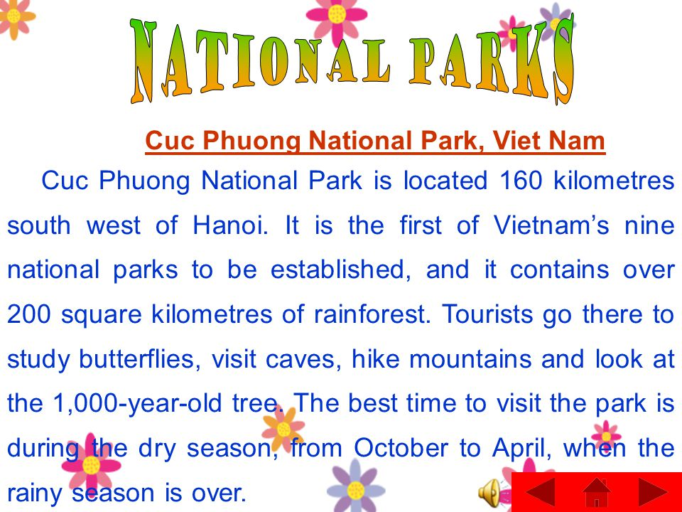 while- reading Reading text : »Cuc Phuong National park, Viet NamCuc Phuong National park, Viet Nam »Nairobi national Park, KenyaNairobi national Park, Kenya »Everglades National Park, USA.Everglades National Park, USA.