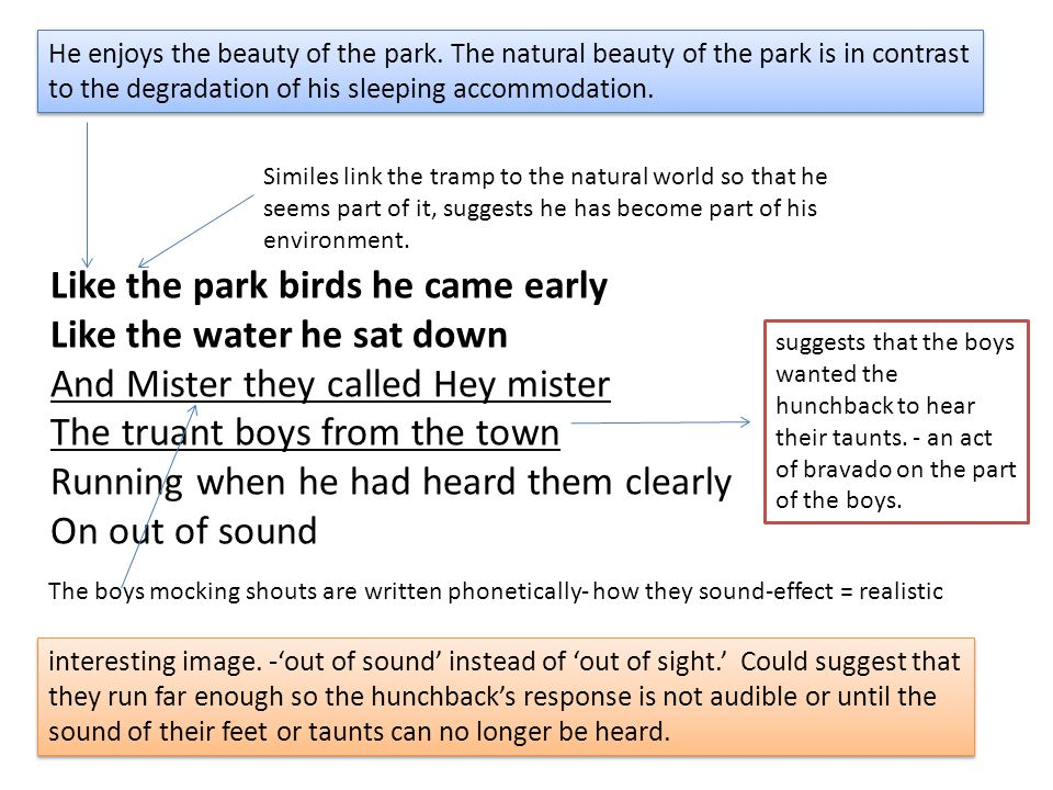Like the park birds he came early Like the water he sat down And Mister they called Hey mister The truant boys from the town Running when he had heard them clearly On out of sound He enjoys the beauty of the park.