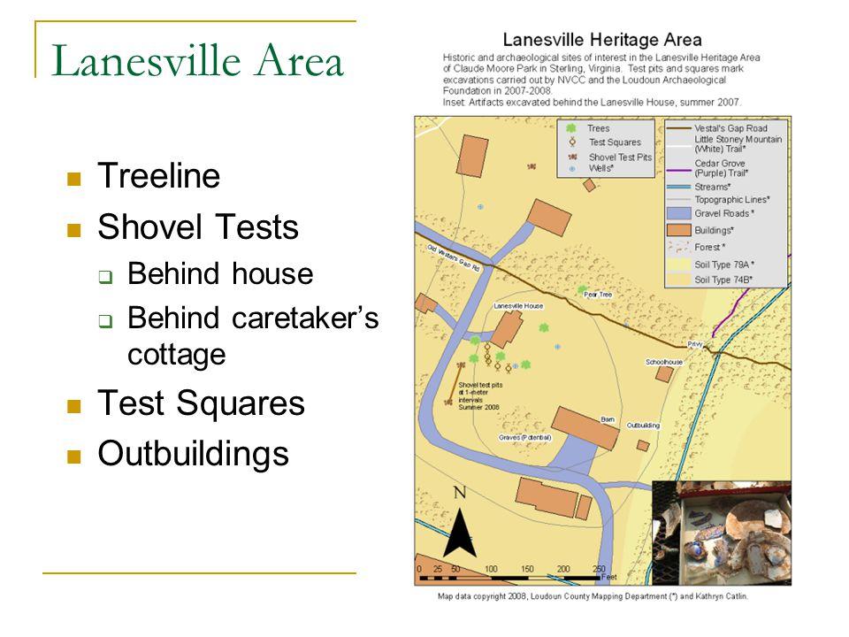 Lanesville Area Treeline Shovel Tests Behind house Behind caretakers cottage Test Squares Outbuildings
