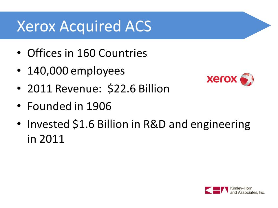 Xerox Acquired ACS Offices in 160 Countries 140,000 employees 2011 Revenue: $22.6 Billion Founded in 1906 Invested $1.6 Billion in R&D and engineering in 2011