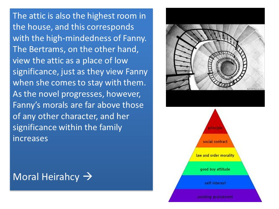 The attic is also the highest room in the house, and this corresponds with the high-mindedness of Fanny.