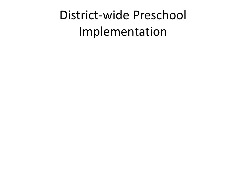 District-wide Preschool Implementation